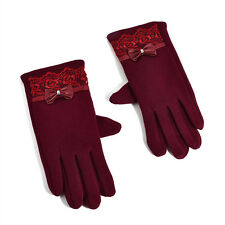 New Women Touch Screen Mittens PU Leather Lace Bow Soft Wool Warm Winter Gloves
