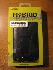 New, Amzer -Samsung Galaxy Note 2 II - BLK Double Layer Hybrid Case w/ Kickstand