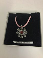 Heraldic RED Gem HGPP Pewter Pendant on a Pink Cord Necklace