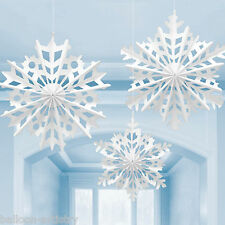 3 Christmas Party Winter White Hanging Snowflakes Paper Fans Decorations