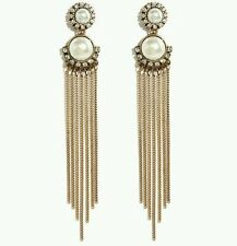 Vintage Inspired Gold and Pearl Tassell Earrings - Bridal Bridesmaid ArtDeco