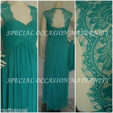 New Long Tiffany Jade Lace Cutout Back Maternity Dress Gown Chiffon 3X Formal