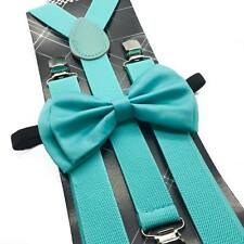 Mint Blue Suspender and Bow Tie Set for Adults Men Women Teenagers  (USA Seller)