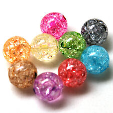 50 x Mixed Crackle Glass Beads - 10mm - B33333 *