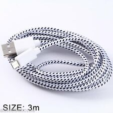 Round Nylon Fabric Braided Data Sync Charging Cable Micro USB 3 Meters White