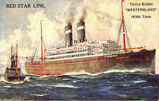 "Red Star Line Triple-Screw ""Westernland"" Steam Ship Poster Type Postcard"