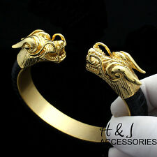 MEN Stainless Steel 12mm Gold/Black Dragon Heads Leather Adjust Handcuff*B83