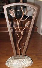 """Pacific Coast Lighting 31"""" Metal Floor Lamp with Leaves - with Stone Base"""