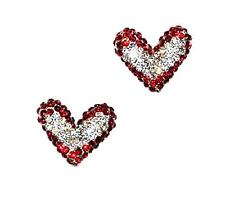 EARRINGS Pierced Studs Tiny Pave Rhinestones RED AND WHITE HEARTS