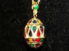 Joan Rivers Gold Tone & Color Crystals Faberge Egg Pendant Necklace - Vintage.