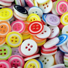 12mm Bright Circle 4 hole Buttons Acrylic Assorted Colours x 50 pcs B196