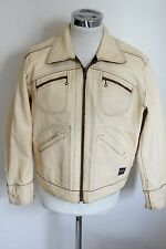 REPLAY L giubbotto pelle leather jacket giubbino double face H1198