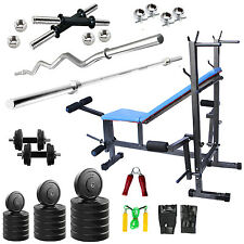 Fitfly Home Gym Set 8 in 1 Bench+30kg Weight+3ftCurl+5ft Plain Rod+Accessories