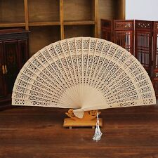 Fragrant Party Hand Hollow Carved Chinese Style Wooden Bamboo Folding Fan