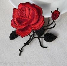 New Black & red roses pair flowers embroidered appliques iron-on patches 2PCS