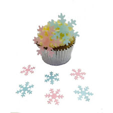 100 Precut Mixed Size/Colour Pink & Blue Snowflakes Edible Paper Cake Toppers