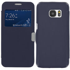 For Samsung Galaxy S7 Slim Magnetic Wallet Cover Case Accessory Navy Blue Window