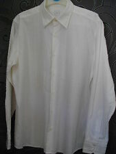 CLASSIC * F & F * WHITE FRAYED LONG SLEEVED SHIRT PERFECT FOR HOLIDAYS SIZE MED