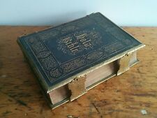 Large Antique Victorian Leather & Brass Bound Holy Church Illustrated Bible