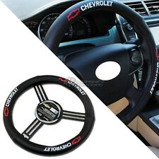 Pilot Automotive Chevrolet Logo Black Leather Genuine Steering Wheel Cover