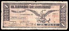 El Estado de Durango 1 Peso 12.12.1913, M1505 / SI-DUR-39 VG