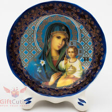 Porcelain gzhel decal plaque Icon Mother of God Unfading Color Неувядаемый цвет