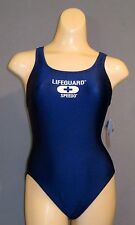 NEW NWT 8 34 SPEEDO LifeGuard SuperPro Back Womens SWIMSUIT 7190432 Navy Blue