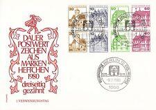 H-Blatt 20 aus Markenheft von 1980 auf FDC mit Sst Kulinaria Berlin'80