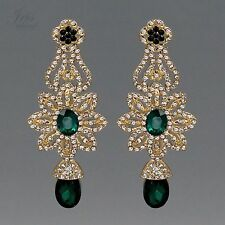 18K Gold Plated GP Green Crystal Rhinestone Chandelier Drop Dangle Earrings 473