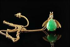 VINTAGE APPLE GREEN JADE DIAMOND 14K GOLD BUG PENDANT CHAIN NECKLACE