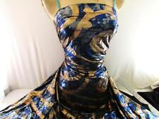 BY THE YARD  POLY LYCRA STRETCH TIE DYE ROYAL BLUE w/GOLD IMPERIAL HOLOGRAM NEW