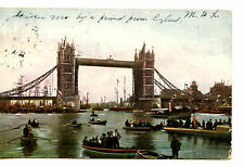 Tower Bridge-Small Boats-River Thames-London-England-1904 Vintage Postcard
