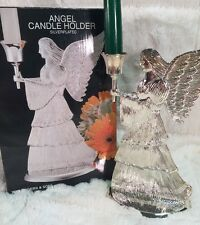 "W.M. Rogers & Son ANGEL CANDLE HOLDER Silverplated 9"" In Box"