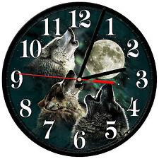"8"" WALL CLOCK - Wolf 26 Wolves Spiritual - Kitchen Office Bathroom Bar Bedroom"