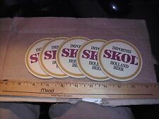 5 Imported SKOL Holland Beer Coasters ExC Bar Man Cave Gift Christmas Dad Mom