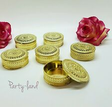 24 Gold Round Plastic Trinket Box Fillable Wedding Favors quencianera favors