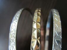 Lot of 3 Stunning Silver & Gold Tone Тexturated Metal Bangle Bracelets 8 - 8,5IN