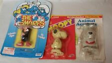 3 Vintage toys Snoopy wind up mint in package + dog and Smurfs gargamel
