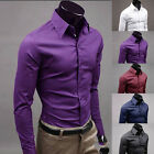 HOT Fashion Mens Slim fit Casual Shirts T-Shirt Formal Long Sleeve Tops XS~XL