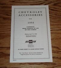 1954 Chevrolet Accessories Price List Sales Brochure 54 Chevy
