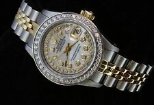 Rolex Lady Datejust Oyster Stainless Gold Diamond Dial Bezel Luxury Watch