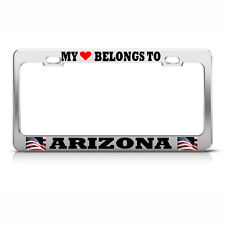 MY HEART BELONGS TO ARIZONA License Plate Frame USA FLAG Auto Tag Border