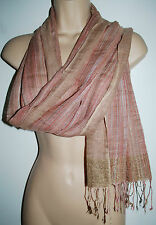 New Woven Cotton & Lurex Shawl Scarf - Hippy Fairly Traded India Ethnic
