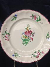 """LUNEVILLE FRANCE K & G OLD STRASBOURG SALAD PLATE 8"""" FLOWERS PINK TRIM """"C"""""""