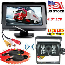 "Bus Truck Trailers Wireless IR Reversing Camera +4.3"" TFT LCD Color Car Monitor"