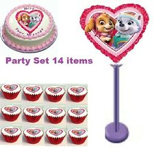 Paw Patrol edible icing cake top images + balloon  party birthday pack. 14 items