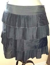 GAP Cotton/Silk Blend EARTH GRAY Tiered Cotton Skirt  Size 6  EUC Must See!