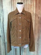 Levis Women's Brown Corduroy Trucker Jacket Coat Red Tab Cotton Stretch L EUC!