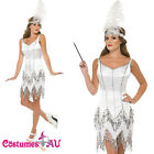 Ladies 20s White Fever Flapper Costume Dazzle Roaring Charleston Fancy Dress Up