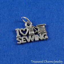 Silver LOVE SEWING Seamstress Thread Needle CHARM PENDANT